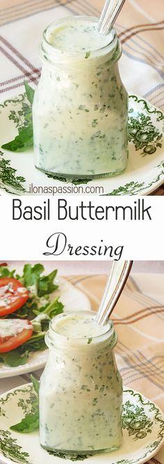 Healthy Basil Buttermilk Dressing by ilonaspassion.com #basil #dressing…