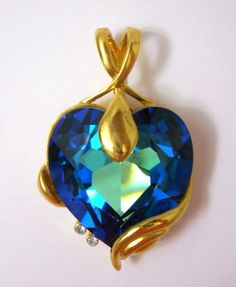 New Deep Blue Swarovski Faceted Heart Crystal Pendant Gold Tone 2 Clear CZ