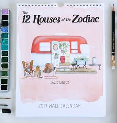 Illustrated calendar from Striped Cat Studio