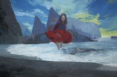 """Troubled Waters,"" by Andrew Hem. Loving the color palette, the movement of her skirt and the waves."