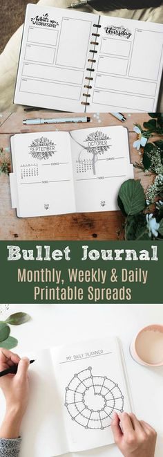 Creative Organization: Dayplanner Printable, Daily Planner, Bullet Journal, Planner Pages, Daily Organizer, Day Planner Inserts, Daily Tracker, Printable Calendar, bujo monthly spread, bulletjournal weekly spread, monthly log, weekly log, 2018 planner, 2018 bullet journal pages, instant download #affiliate #bulletjournalmonthlylog #bulletjournalweeklylog #plannerprintables