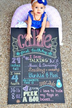 "Take a black foam board, metallic Sharpie markers and create a ""chalkboard"" design that can't be smeared by messy fingers!  Great keepsake photo for each birthday."