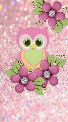Coruja rosa e flores rosas