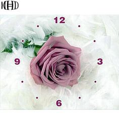 37535d906a Find More Diamond Painting Cross Stitch Information about MHD Full 3D  Diamond Embroidery Wall Clock Rose