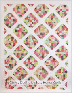 Busy Hands Quilts: Oh My Darling Twin Quilt in Fresh Cut fabrics. Pattern includes 6 sizes, baby, small lap, large lap, twin, queen, and king, and is JELLY ROLL friendly, and uses strip piecing.  You can buy the pattern here: http://go-2.it/BusyHandsPatterns