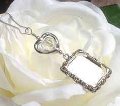 Wedding bouquet photo charm. Crystal heart by SmilingBlueDog