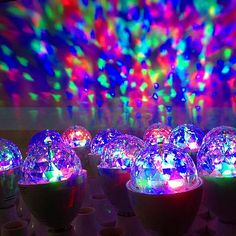 LED bulb from a multi-faceted prism and rotating motor to create a ball effect for parties. www.effratech.in