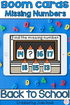 Need a fun & interactive activity to get your students engaged in  practicing which number is missing? This game is a great to help  reinforce number sequence, counting & number order 1-20. Boom cards  are a fun digital & no prep, paperless way to get your students  engaged in learning! Each card will have a fun Back to School theme with  glue bottles. Great to use in a technology or math center! Perfect for  Distance learning in Preschool, Kindergarten, & 1st Grade or at  home!