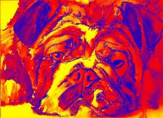 British Bulldog Giclee art print Modern yellow red blue wall art Print of Original Watercolor painting gift idea signed by… #dogs #etsy #art