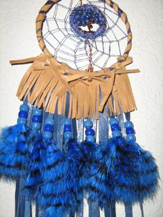 Lapis Lazuli Tree of Life Dream Catcher wire by LeatherWearableArt