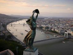 BUDAPEST, Hungary - The windswept Liberty Statue, overlooking the city. Aerial views of Europe taken from a drone - in pictures Drones, Quadcopter Drone, Bratislava, Aerial Drone, Belle Villa, Aerial Photography, Aerial View, Statue Of Liberty, Beautiful Places