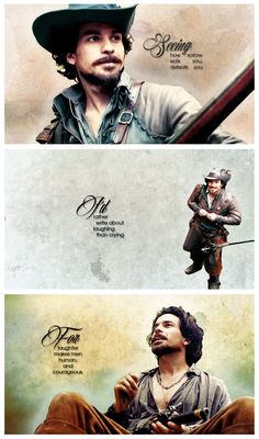 The Musketeers - Aramis, 'Seeing how sorrow eats you, defeats you, I'd rather write about laughing than crying. For laughter makes men human and courageous. That's all the glory my heart is after.' - François Rabelais
