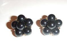 Vintage Signed Trifari Goldtone Black Cluster Clip Back Earrings | eBay https://www.facebook.com/AColourfulPast
