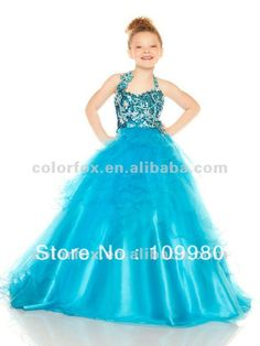 Turquoise Halter Sequin Bodice Beaded Floral Appliqued Full Ruffled Tulle Overlay Pageant Dress for Little Girls $149.00 - 179.00