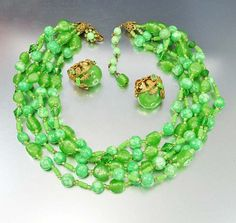 Signed Miriam Haskell Necklace Miriam Haskell Jewelry Earrings Green Art Glass Beads Rhinestone