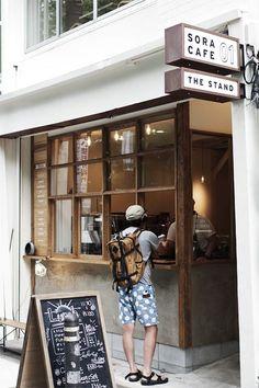Kaffeeecke (via: Sora Cafe) - Cafe Shop Design, Cafe Interior Design, Store Design, Small Coffee Shop, Coffee Store, Coffee Shop Japan, Café Restaurant, Restaurant Design, Design Websites
