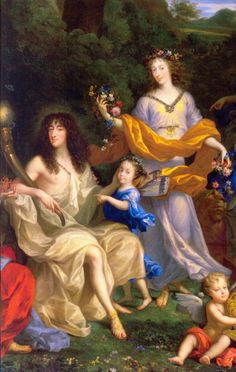 Philippe d'Orleans, Monsieur, his wife Henriette-Anne of England, Minette, and their daughter between them: detail of The Family of Louis XIV by Jean Nocret (Chateau de Versailles)
