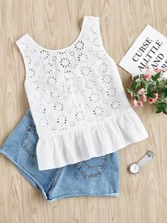 SheIn offers Bow Embellished Tiered Hem Eyelet Embroidered Top & more to fit your fashionable n Kids Outfits, Summer Outfits, Casual Outfits, Cute Outfits, Fashion Outfits, Baby Dress Design, Frock Design, Baby Girl Fashion, Kids Fashion