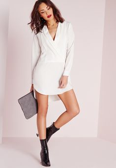 Missguided - Long Sleeve Wrap Front Shirt Dress White