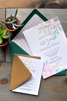 @darlingandpearl mastering the invitation game. We salute you! See more of her work here ➳ darlingandpearl.com #darlingandpearl #letterpress #weddinginvitations #moderncalligraphy