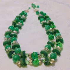 Vintage Green Multi Strand Lucite Beaded Necklace by BorrowedTimes on Etsy