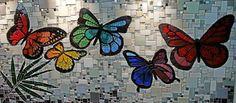 Butterfly mosaic mural - by FJ Mosaic Art; designed by Fernanda Jatonin Curitiba, PR, Brazil Stained Glass Designs, Mosaic Designs, Mosaic Patterns, Butterfly Mosaic, Glass Butterfly, Mosaic Crafts, Mosaic Projects, Mosaic Glass, Mosaic Tiles