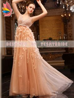 luxury tulle and chiffon v-neck long evening formal dress with beaded bodice and petal detail skirt