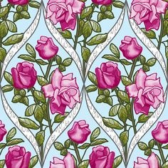 Painted pink rose framed fabric by khowardquilts on Spoonflower - custom fabric