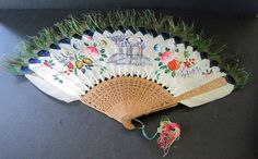 Vtg Peacock Feather Chinese Fan Hand Painted Flowers C 1850 China Trade Fan w MA | eBay
