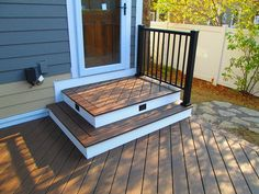 TimberTech Decking Deck Lighting Minneapolis MN 2019 TimberTech Decking Deck Lighting Minneapolis MN The post TimberTech Decking Deck Lighting Minneapolis MN 2019 appeared first on Deck ideas. Deck Steps, Outdoor Steps, Porch Steps, Backyard Patio Designs, Backyard Landscaping, Deck Landing Ideas, Timbertech Decking, Patio Stairs, Porch With Stairs