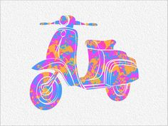 VESPA Scooter Archival Watercolor Art Print  8 x 10 Watercolor Painting Print Colorful Motor Scooter Wall Decor Home, Office, Childrens Room on Etsy, $25.00