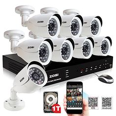 ZOSI 8CH Real-time HDMI DVR Security System with 8X 800TVL Weatherproof 24pcs IR Leds Night Vision Cameras 1TB Hard Drive and Remote Web/Mobile Access