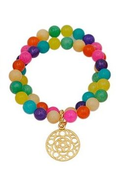 Tash Double Strand Multicolored Jade Stone Bracelet with Dangling Filligree