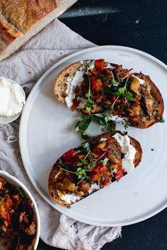 Eggplant Caponata & Labneh Bruschetta | The Brick Kitchen