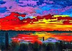 """Carolina Sunset"" - Original watercolor © Patricia Griffin Brett"