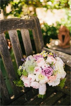 peach and lavender bouquet #bouquet #bride #weddingchicks http://www.weddingchicks.com/2014/03/26/rustic-romance-wedding/