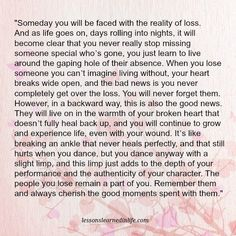 Lessons Learned in Life | The reality of loss.