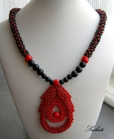 Red & black necklace - love the design