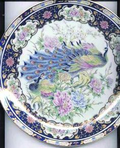 """205"" china pattern with blue peacock and pink flowers from Japan China."