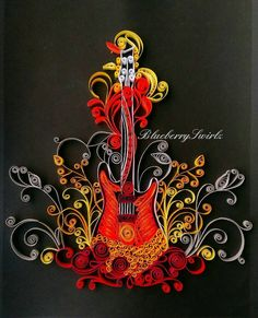 Paper quilling guitar Bold colors by BlueberrySwirlz on Etsy