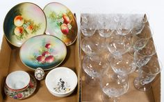Lot 614: Etched Glassware and Bavarian Dish Assortment; Including a set of (4) water goblets, (6) wine glasses and (5) cocktail glasses with floral etched bowls; (3) Turin Bavaria marked printed fruit plates; a Hopalong Cassidy bowl, a Japanese cup and saucer and a painted egg