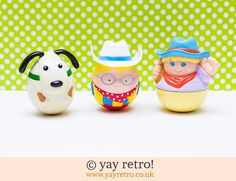This is a set of 3 highly collectable Milky Bar Kid weebles from Nestle. this great priced set includes the Milk Bar Kid, his girl friend and their dog....