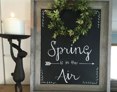 Spring Chalkboard with Faux Boxwood Wreath by DesignsByDerk