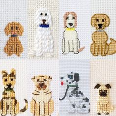 "72 Likes, 6 Comments - Cross Stitch Portraits (@familystitch) on Instagram: ""Which dog is your favorite...? Don't forget to include your furry children """