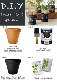 Indoor Herb Garden (YES! use chalkboard paint for the pots) @ Home Design Ideas