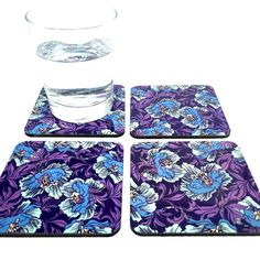 Floral Decor Coaster Set - Drink Coasters - Functional Art - Floral Art - Cork… with <3 from JDzigner www.jdzigner.com