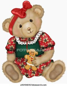 Christmas teddy bear with gingerbread cookie
