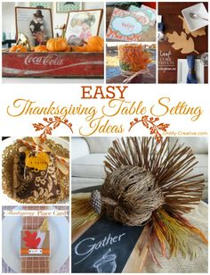 Easy Thanksgiving Table Setting Ideas including printable place cards centerpiece ideas and table decor! Everything you need to create a stylish Thanksgiving dinner table! Thanksgiving Table Centerpieces, Thanksgiving Table Runner, Thanksgiving Place Cards, Thanksgiving Tablescapes, Holiday Tables, Thanksgiving Crafts, Thanksgiving 2016, Thanksgiving Celebration, Christmas Tables
