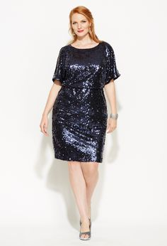 fb82fb76ef3 Plus Size Sequined Blouson Cold Shoulder Dress