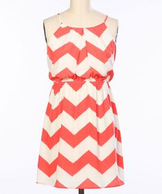 Coral & White Zigzag Blouson Dress | Daily deals for moms, babies and kids $17.99